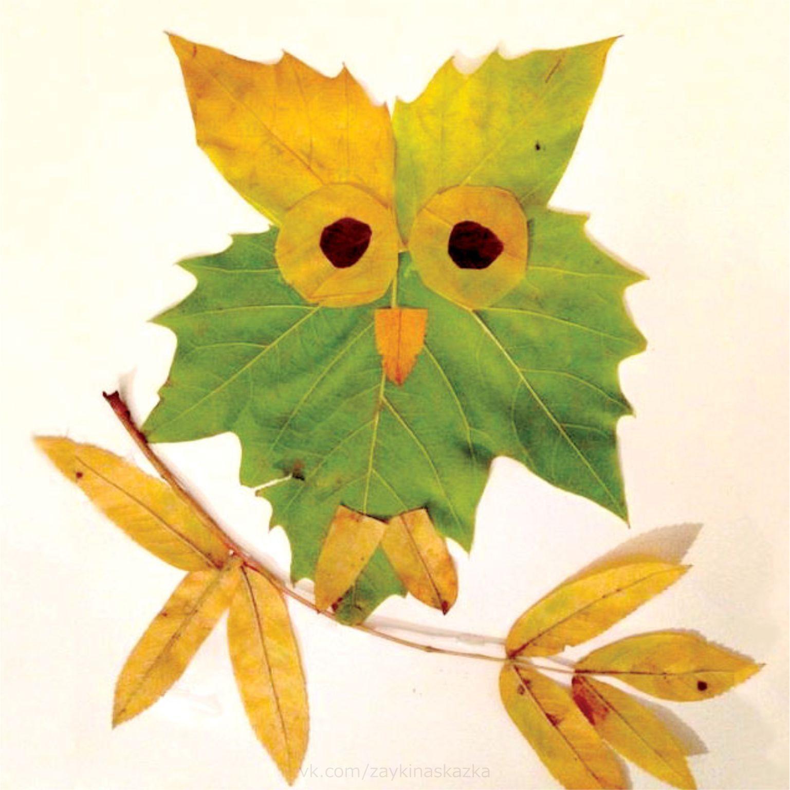 поделки и рисунки из листьев всемирного